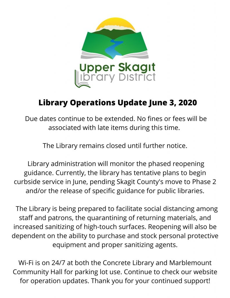 Library Operations Update June 3, 2020