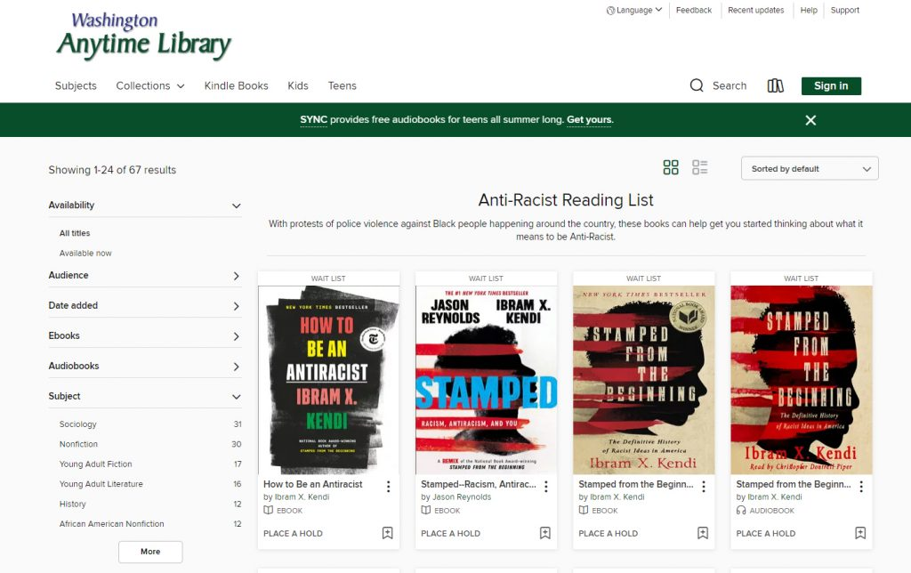 Image of the Washington Anytime Library collection of Anti-Racist titles.